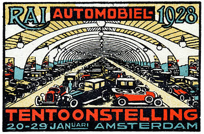 Painting - 1928 Amsterdam Car Show by Historic Image