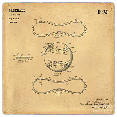 Collectible Sports Art Drawing - 1928 Baseball Patent Art Maynard 1 by Nishanth Gopinathan