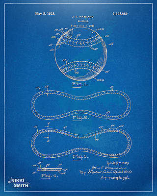 1928 Baseball Patent Artwork - Blueprint Art Print by Nikki Smith