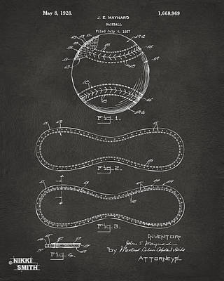 Six Drawing - 1928 Baseball Patent Artwork - Gray by Nikki Marie Smith