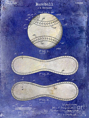 Baseball Gloves Wall Art - Photograph - 1928 Baseball Patent Drawing 2 Tone Blue by Jon Neidert