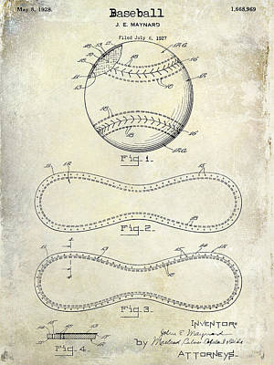 1928 Baseball Patent Drawing  Art Print by Jon Neidert