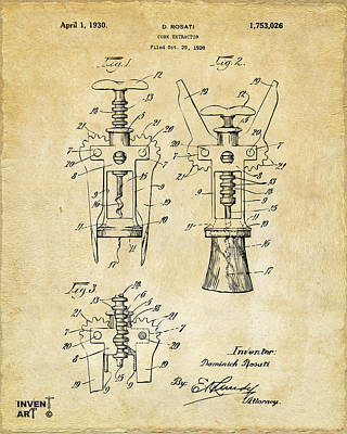 Drink Digital Art - 1928 Cork Extractor Patent Art - Vintage Black by Nikki Marie Smith