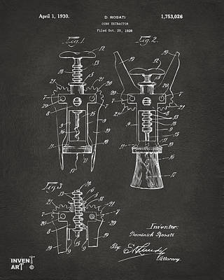 1928 Cork Extractor Patent Artwork - Gray Art Print by Nikki Marie Smith
