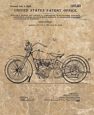 Motorcycle Drawing - 1928 Harley Davidson Motorcyle Patent Illustration by Dan Sproul