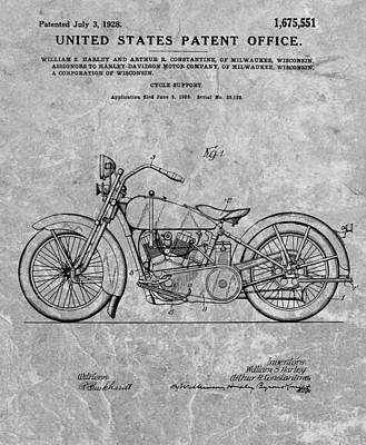 Drawing - 1928 Harley Motorcycle Patent Charcoal by Dan Sproul