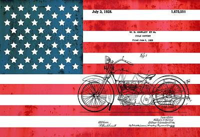 Motorcycle Drawing - 1928 Harley Patent American Flag by Dan Sproul