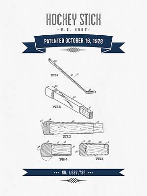 1928 Hockey Stick Patent Drawing - Retro Navy Blue Art Print by Aged Pixel