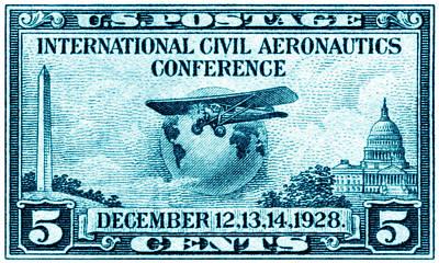 Vintage Aircraft Painting - 1928 International Civil Aeronautics Stamp by Historic Image
