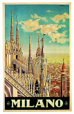 Mixed Media - 1928 Milano - Vintage Travel Art by Presented By American Classic Art