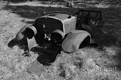 1928 Model A Ford Rusty Remnants Black And White Art Print