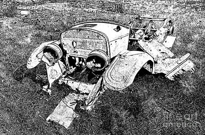 Photograph - 1928 Model A Ford Rusty Remnants Stamp Black And White by Shawn O'Brien