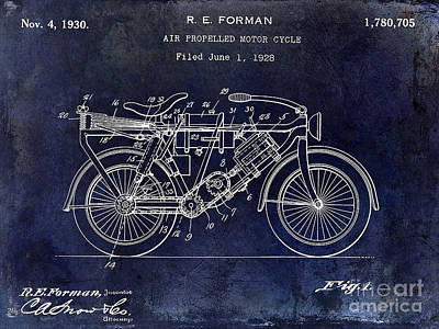 1928 Motorcycle Patent Drawing Blue Art Print by Jon Neidert