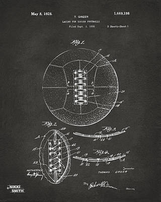 Sports Digital Art - 1928 Soccer Ball Lacing Patent Artwork - Gray by Nikki Marie Smith