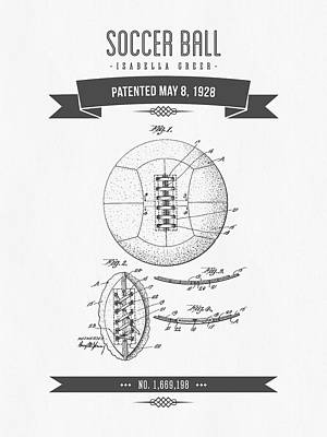 Football Royalty-Free and Rights-Managed Images - 1928 Soccer Ball Patent Drawing - Retro Gray by Aged Pixel