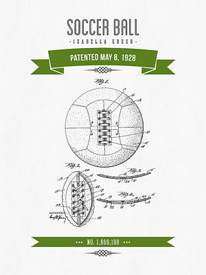 Football Royalty-Free and Rights-Managed Images - 1928 Soccer Ball Patent Drawing - Retro Green by Aged Pixel