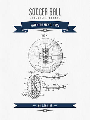 Football Royalty-Free and Rights-Managed Images - 1928 Soccer Ball Patent Drawing - Retro Navy Blue by Aged Pixel
