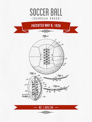 Football Royalty-Free and Rights-Managed Images - 1928 Soccer Ball Patent Drawing - Retro Red by Aged Pixel