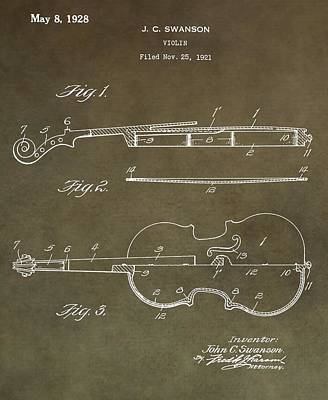 Violin Digital Art - 1928 Violin Patent by Dan Sproul