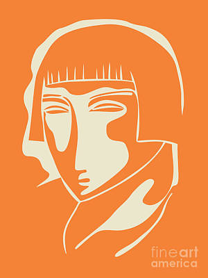 1928 Woman Face   Orange Art Print