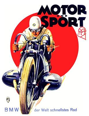 1929 - Bmw Motorcycle Poster - Color Art Print