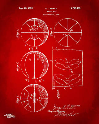 Basket Ball Drawing - 1929 Basketball Patent Artwork - Red by Nikki Marie Smith