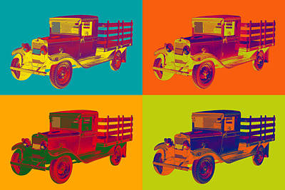 1929 Blue Chevy Truck 1 Ton Pop Art Art Print by Keith Webber Jr