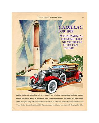 Classic Car Art Digital Art - 1929 Cadillac Vintage Magazine Ad by Jack Pumphrey