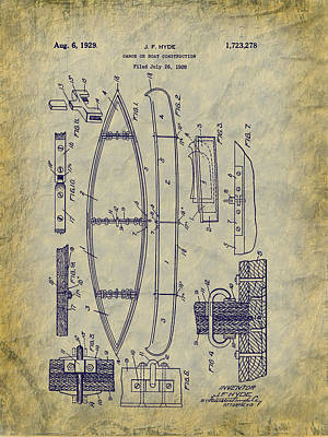 Digital Art - 1929 Canoe Construction Patent Art by Barry Jones
