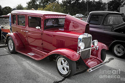 Photograph - 1929 Chevrolet Classic Car Automobile Color Red 3132.02 by M K  Miller