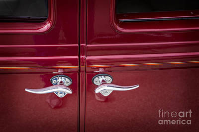 Photograph - 1929 Chevrolet Classic Car Automobile Door Handles Color Red  31 by M K  Miller
