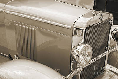Photograph - 1929 Chevrolet Classic Car Automobile Front Fender Sepia  3127.0 by M K  Miller
