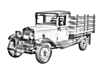 1929 Chevy Truck 1 Ton Stake Body Drawing Art Print