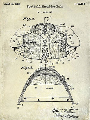 Baltimore Ravens Wall Art - Photograph - 1929 Football Shoulder Pads Patent Drawing by Jon Neidert