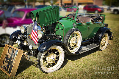 Photograph - 1929 Ford Classic Antique Automobile In Green Color  3052.02 by M K Miller