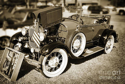 Photograph - 1929 Ford Classic Antique Automobile In Sepia  3052.01 by M K Miller