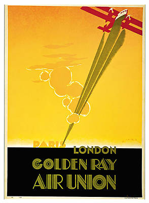 Mixed Media - 1929 Golden Ray - Vintage Travel Art by Presented By American Classic Art
