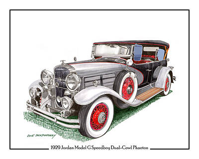 Painting - 1929 Jordan Model G Dual Cowl Phaeton by Jack Pumphrey