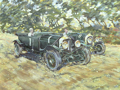 Windy Hill Painting - 1929 Le Mans Winning Bentleys by Clive Metcalfe