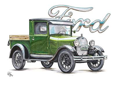 Ford Truck Drawing - 1929 Model A Ford Truck by Shannon Watts