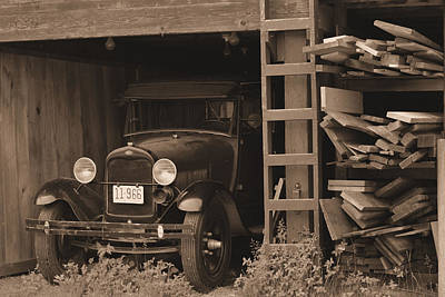 Photograph - 1929 Model-t In Barn by Nadalyn Larsen