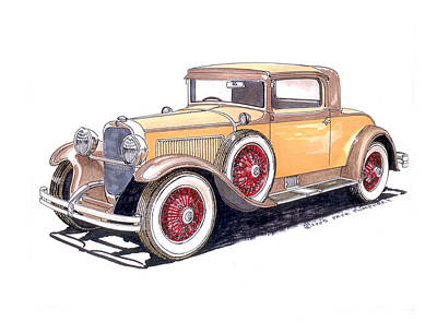 Larks Painting - 1929 Nash Advanced 6 Sport by Jack Pumphrey