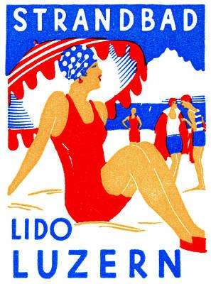 Switzerland Painting - 1929 Strandbad Lido Beach by Historic Image