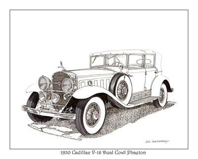 Cylinders Drawing - 1930 Cadillac V-16 Dual Cowl Phaeton by Jack Pumphrey