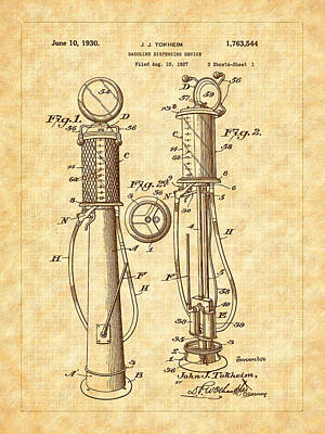 1930 Classic Gas Pump Patent - Automotive - Historical Art Print