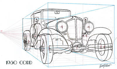 Antique Automobiles Drawing - 1930 Cord by Harry West