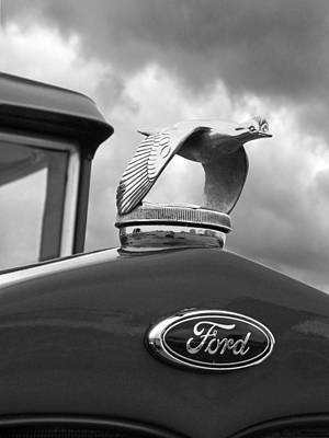 Vintage Hood Ornament Photograph - 1930 Ford Coupe Flying Quail Hood Ornament In Black And White by Gill Billington