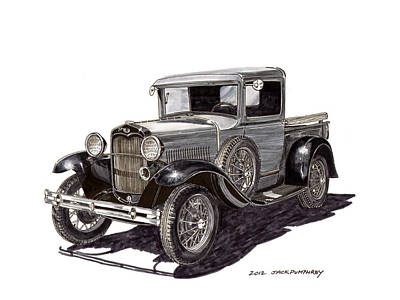 Painting - Ford Model A Pick Up by Jack Pumphrey