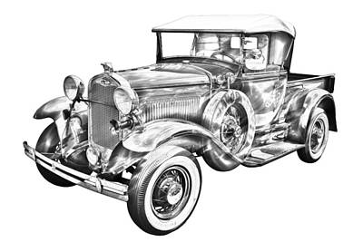 Photograph - 1930 Ford Model A Pickup Truck Illustration by Keith Webber Jr