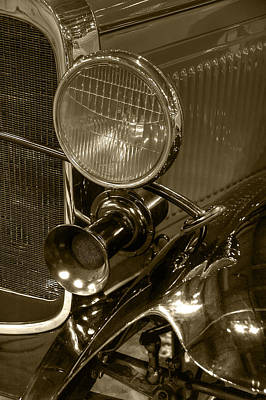 Photograph - 1930 Ford Model A Rumble Seat Roadster Headlight And Horn Sepia by Ken Smith